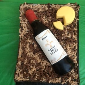Cake decorated to look like a bottle of wine