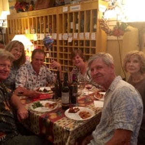 Ellen and friends celebrating a birthday at Ellen's Wine Room